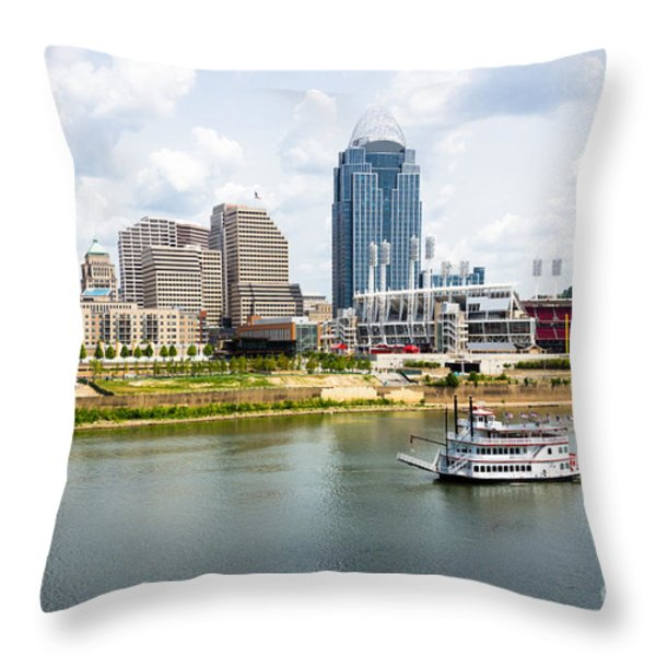 Cincinnati Skyline With Riverboat Photo Throw Pillow by Paul Velgos