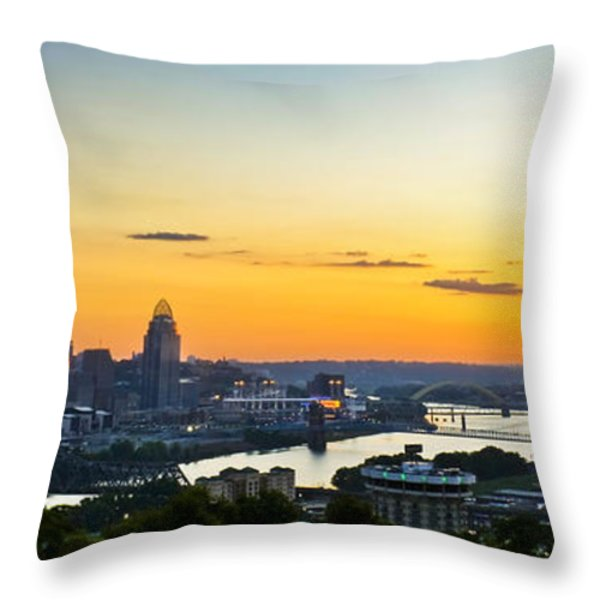 Cincinnati Sunrise II Throw Pillow by Keith Allen