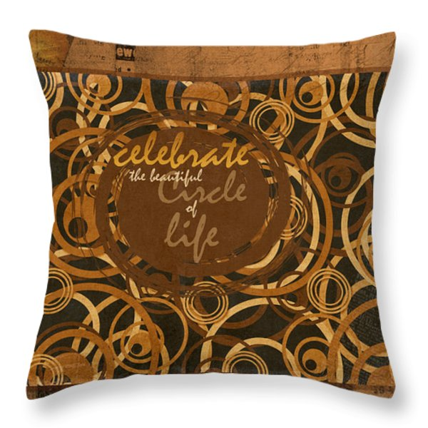 Circle Of Life Throw Pillow by Bonnie Bruno
