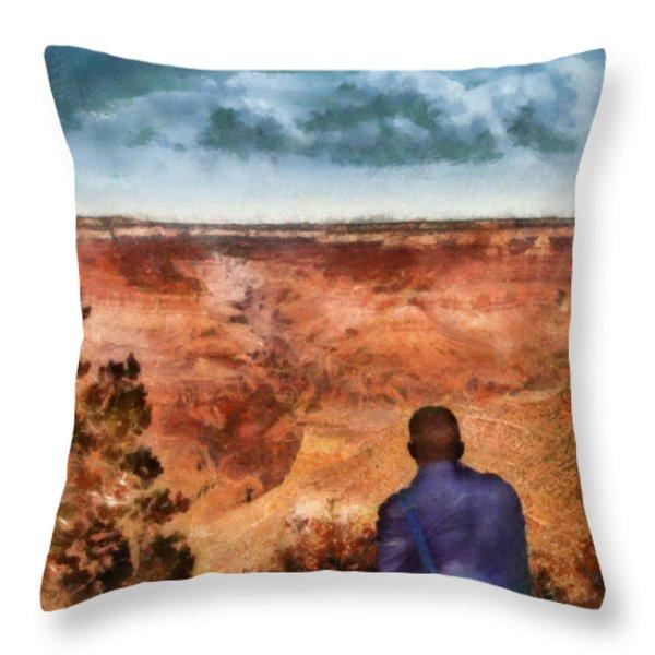 City - Arizona - Grand Canyon - The Vista Throw Pillow by Mike Savad