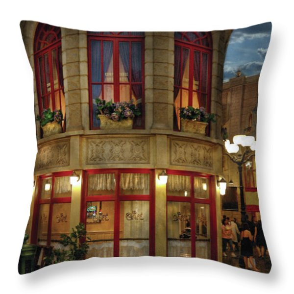 City - Vegas - Paris - Le Cafe Throw Pillow by Mike Savad