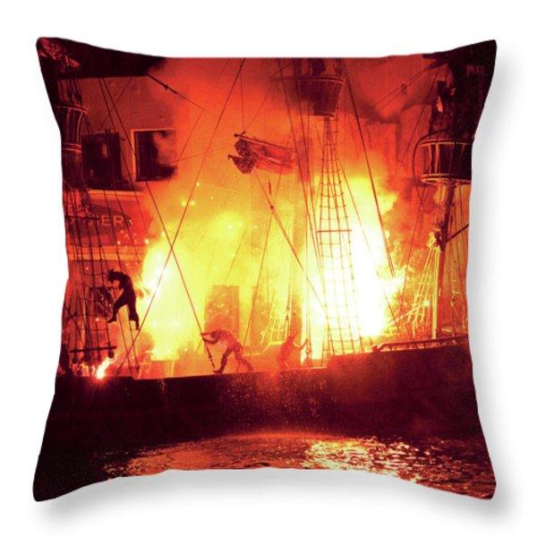 City - Vegas - Treasure Island - Explosion Abandon ship Throw Pillow by Mike Savad