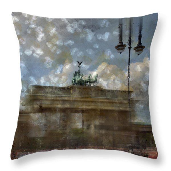 City-Art BERLIN Brandenburger Tor II Throw Pillow by Melanie Viola