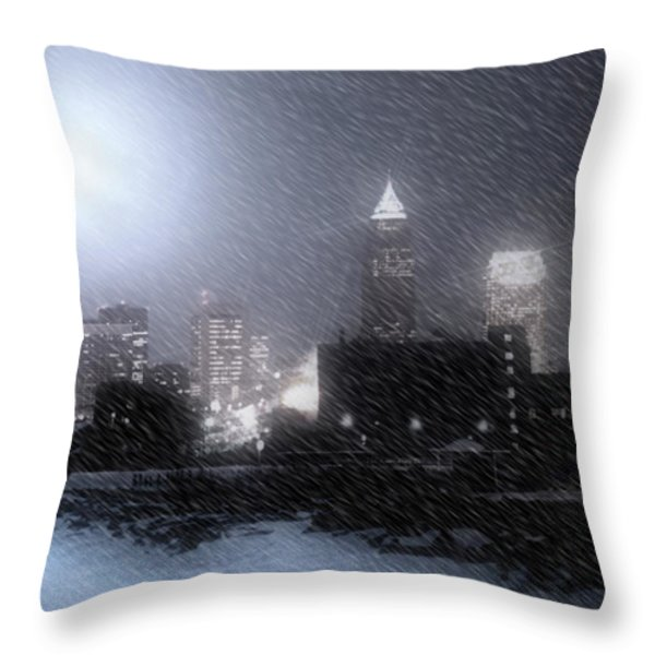City Bathed In Winter Throw Pillow by Kenneth Krolikowski