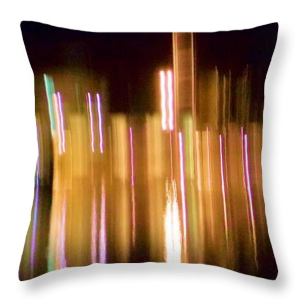 City Lights Over Water Abstract Throw Pillow by Carolyn Repka