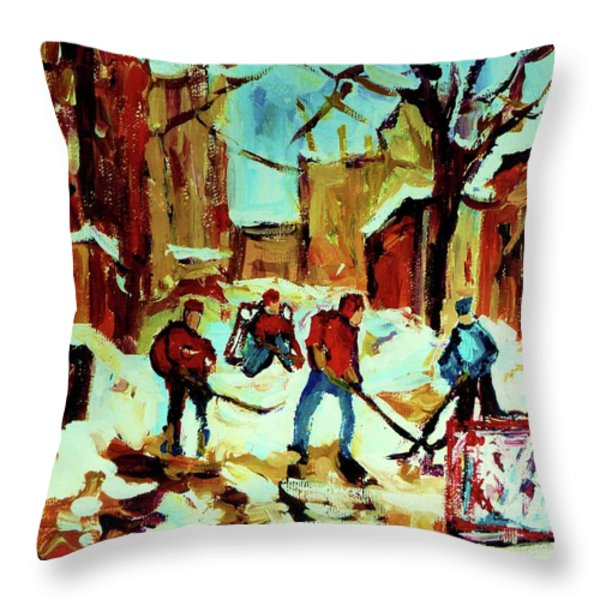 City Of Montreal Hockey Our National Pastime Throw Pillow by Carole Spandau