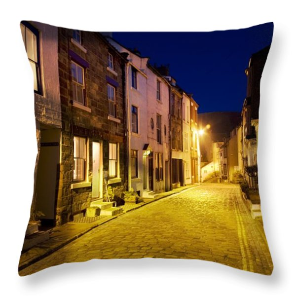 City Street At Night, Staithes Throw Pillow by John Short