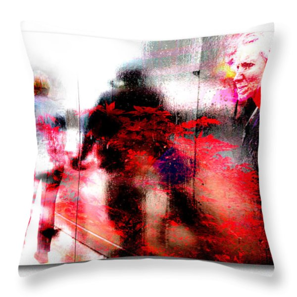 City Street Reflections Throw Pillow by Mal Bray
