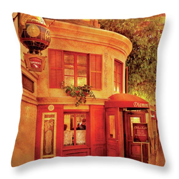 City - Vegas - Paris - Vins Detable Throw Pillow by Mike Savad