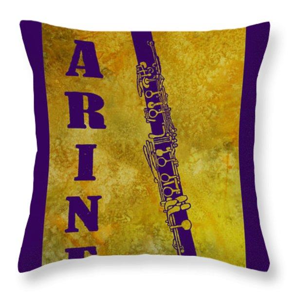 Clarinet Throw Pillow by Jenny Armitage
