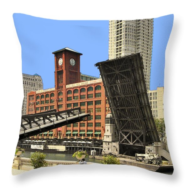 Clark Street Bridge Chicago - A contrast in time Throw Pillow by Christine Till