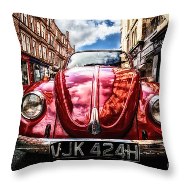 Classic Vw On A Glasgow Street Throw Pillow by John Farnan
