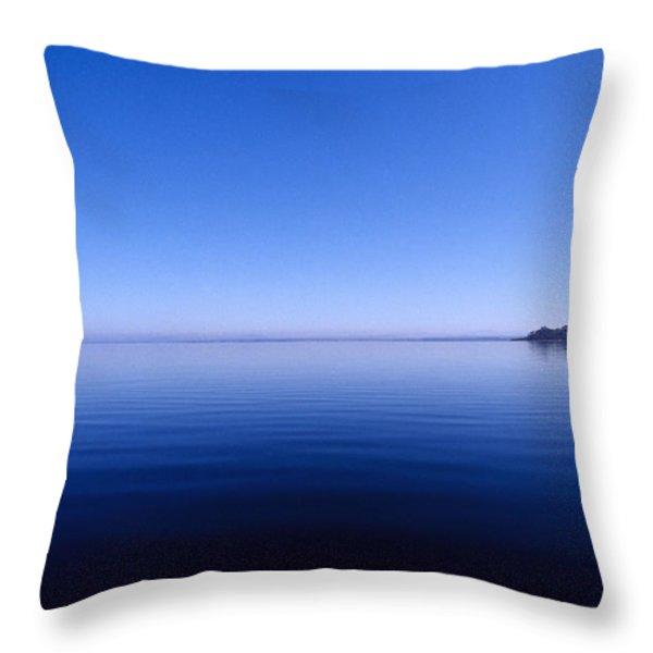 Clear Blue Sky Reflected In A Still Throw Pillow by Jason Edwards