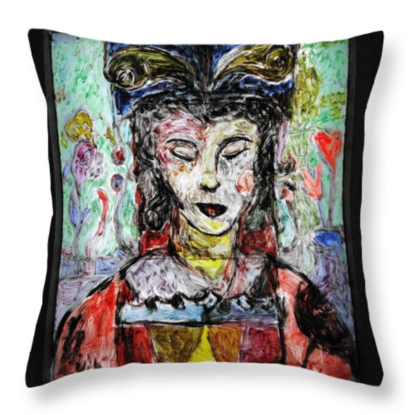 Cleopatra In Spring Throw Pillow by Mykul Anjelo