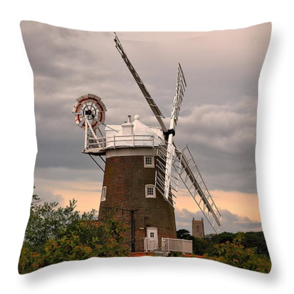 Cley Windmill Throw Pillow by Chris Thaxter