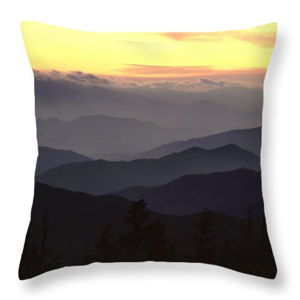 Clingmans Dome Is The Highest Point Throw Pillow by James P. Blair