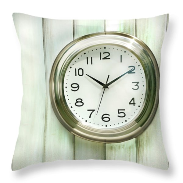 Clock On The Wall Throw Pillow by Sandra Cunningham