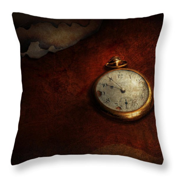 Clock - Time waits for nothing  Throw Pillow by Mike Savad