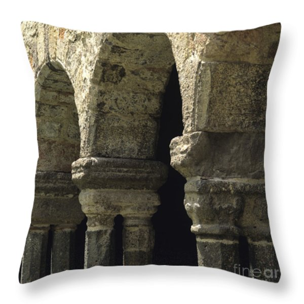 Cloister of Lavaudieu. Haute Loire. Auvergne. France. Throw Pillow by BERNARD JAUBERT