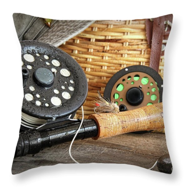 Close-up fly fishing rod  Throw Pillow by Sandra Cunningham