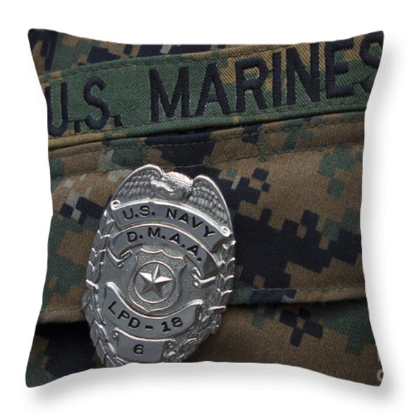 Close-up Of A Duty Master-at-arms Badge Throw Pillow by Stocktrek Images