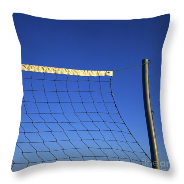 Close-up Of A Volleyball Net Abandoned. Throw Pillow by Bernard Jaubert
