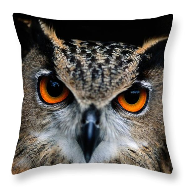 Close Up Of An African Eagle Owl Throw Pillow by Joel Sartore