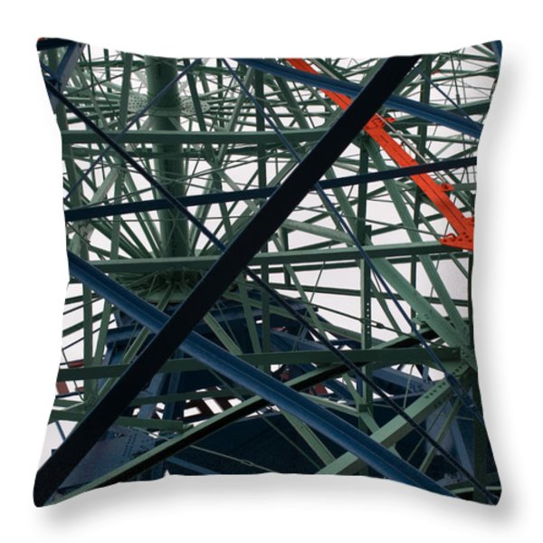 Close-up Of Ferris Wheel Mechanism Throw Pillow by Todd Gipstein