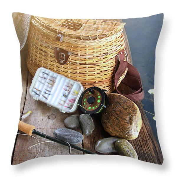 Close-up of fishing equipment and hat  Throw Pillow by Sandra Cunningham