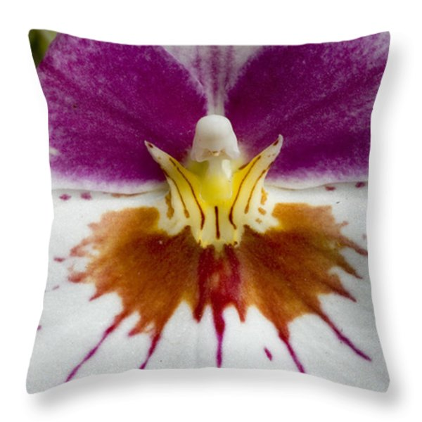 Close-up Of The Center Of An Orchid Throw Pillow by Todd Gipstein