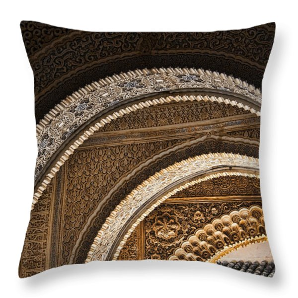Close-up view of Moorish arches in the Alhambra palace in Granad Throw Pillow by David Smith