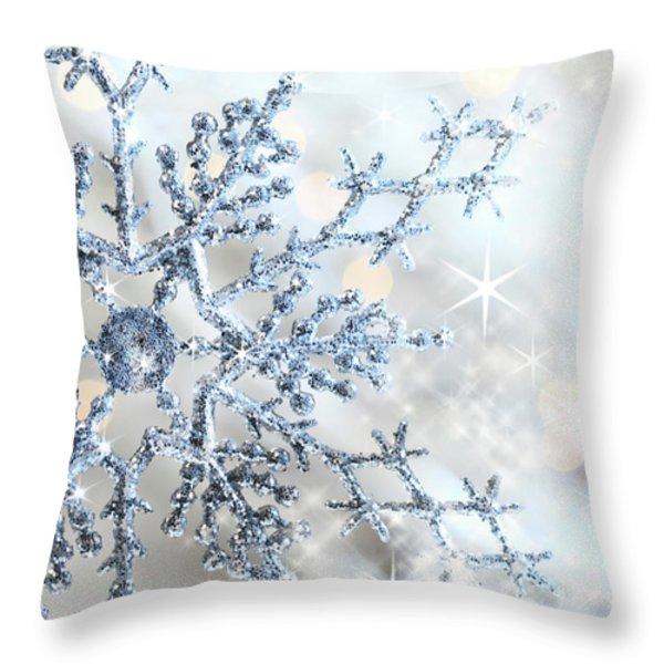 Closeup of snowflake Throw Pillow by Sandra Cunningham