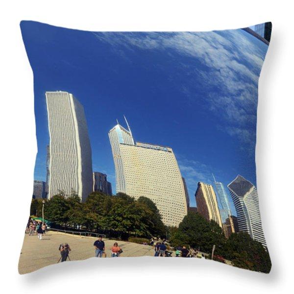 Cloud Gate Millenium Park Chicago Throw Pillow by Christine Till