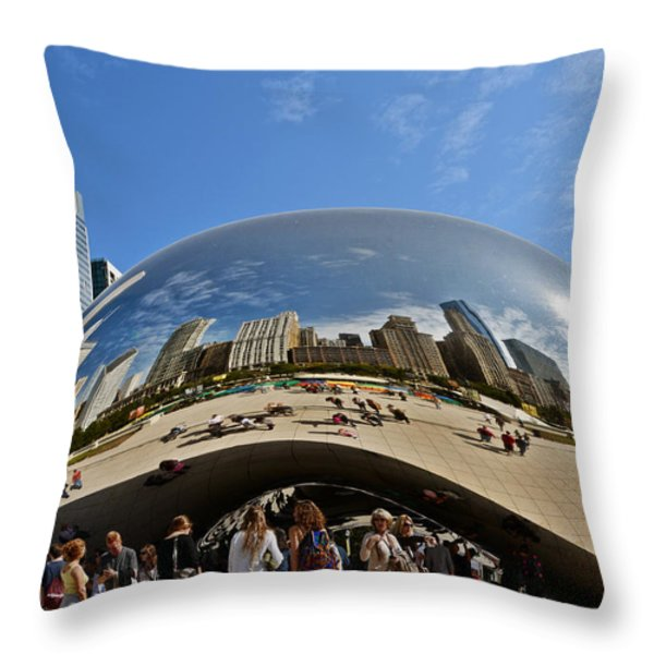 Cloud Gate - The Bean - Millennium Park Chicago Throw Pillow by Christine Till
