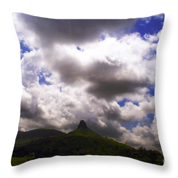 Clouded Hills At Nasik India Throw Pillow by Sumit Mehndiratta