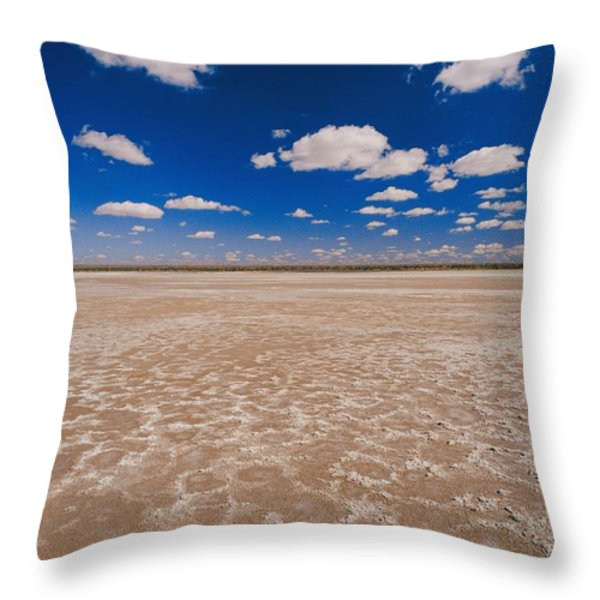 Clouds Float In A Blue Sky Above A Dry Throw Pillow by Jason Edwards