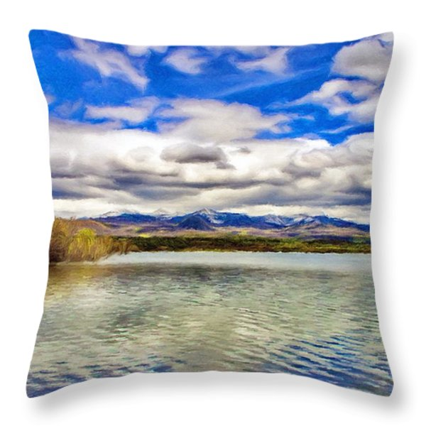 Clouds over Distant Mountains Throw Pillow by Jeff Kolker