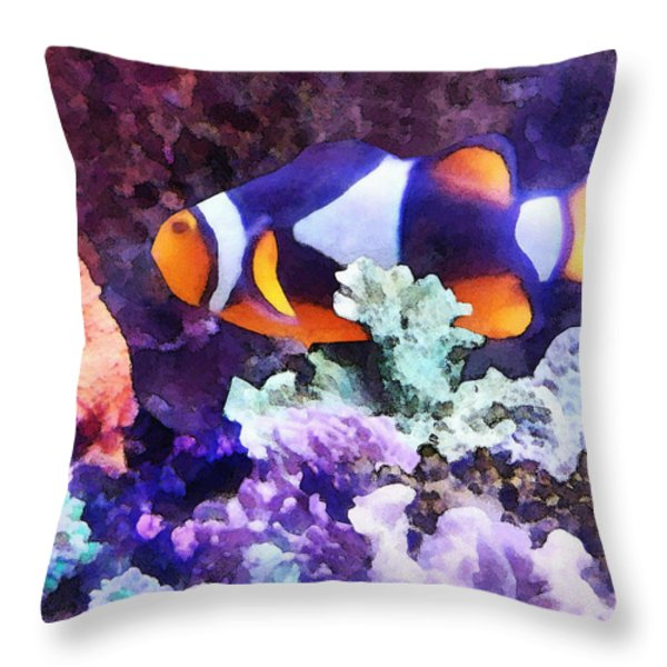 Clownfish And Coral Throw Pillow by Susan Savad