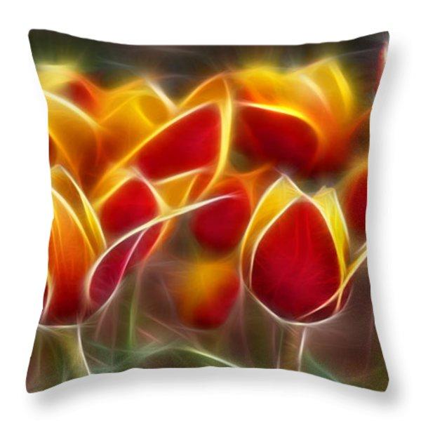 Cluisiana Tulips Fractal Throw Pillow by Peter Piatt
