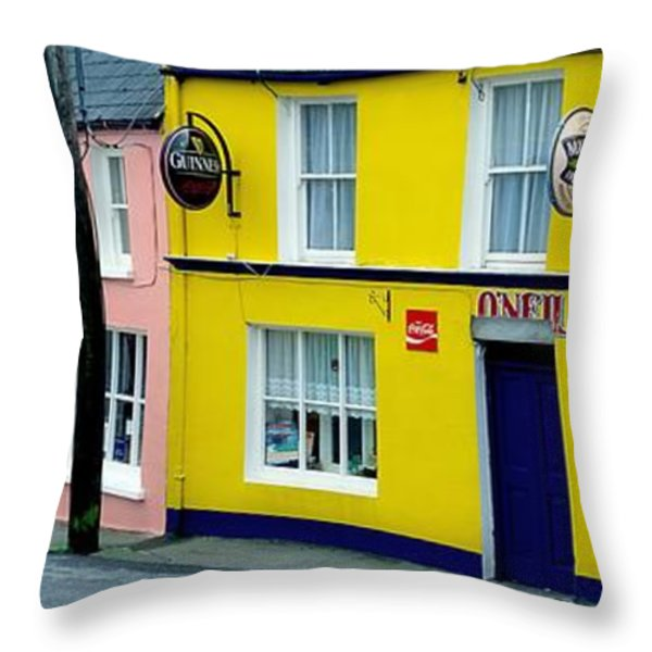 Co Cork, Eyeries Village In The Rain Throw Pillow by The Irish Image Collection