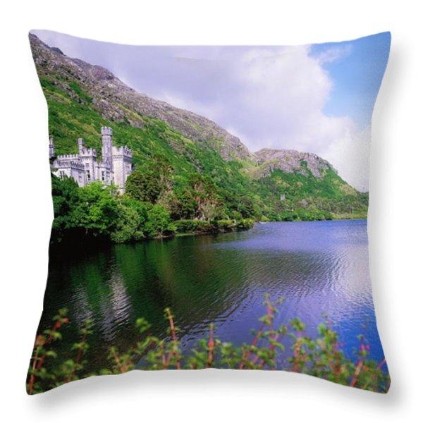 Co Galway, Ireland, Kylemore Abbey Throw Pillow by The Irish Image Collection