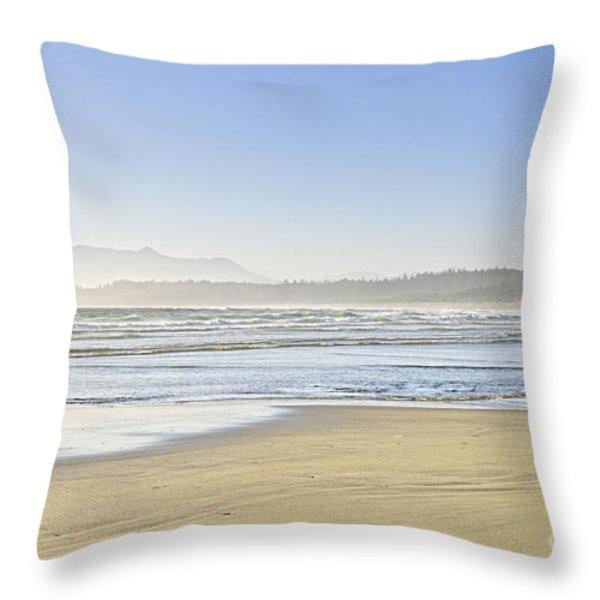 Coast of Pacific ocean on Vancouver Island Throw Pillow by Elena Elisseeva