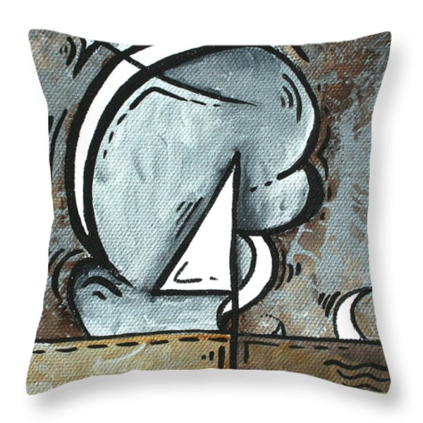 Coastal Art Contemporary Sailboat Painting Whimsical Design SILVER SEA I by MADART Throw Pillow by Megan Duncanson