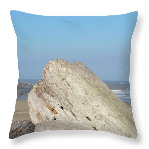 Coastal Art Prints Driftwood Ocean Beach Sky Throw Pillow by Baslee Troutman
