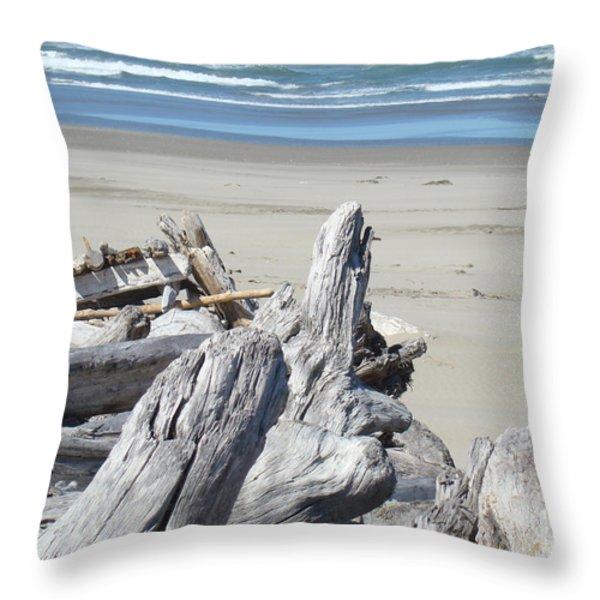 Coastal Driftwood Art Prints Blue Waves Ocean Throw Pillow by Baslee Troutman