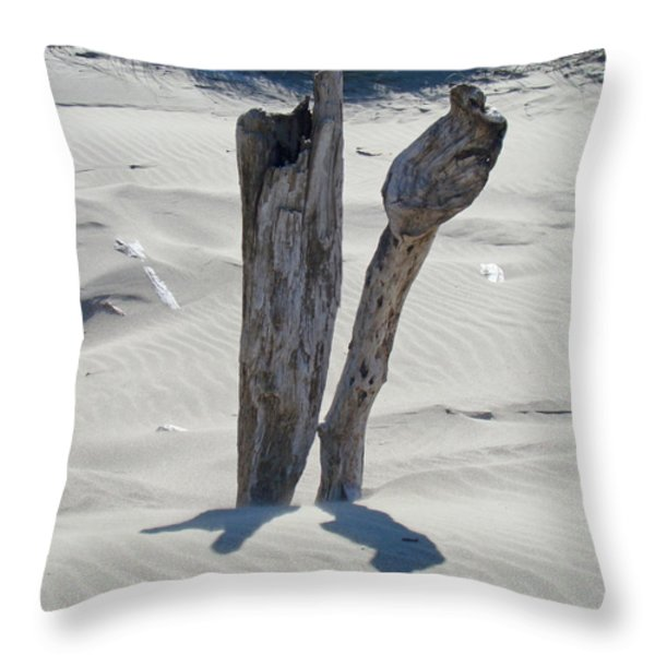 Coastal Driftwood Art Prints Ocean Shore Sand Beach Throw Pillow by Baslee Troutman Nature Photography