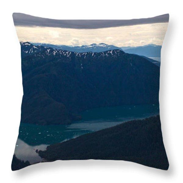 Coastal Range Fjords Throw Pillow by Mike Reid
