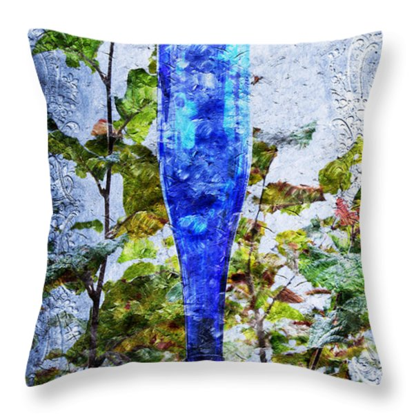 Cobalt Blue Bottle Triptych 1 of 3 Throw Pillow by Andee Design