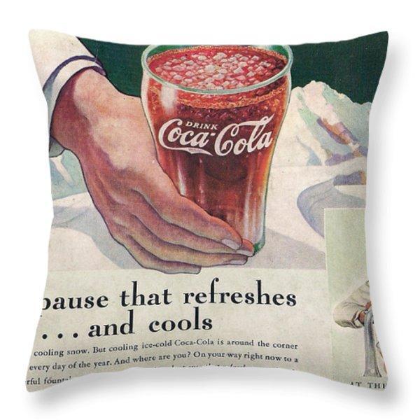 Coca Cola 1937 Throw Pillow by Georgia Fowler