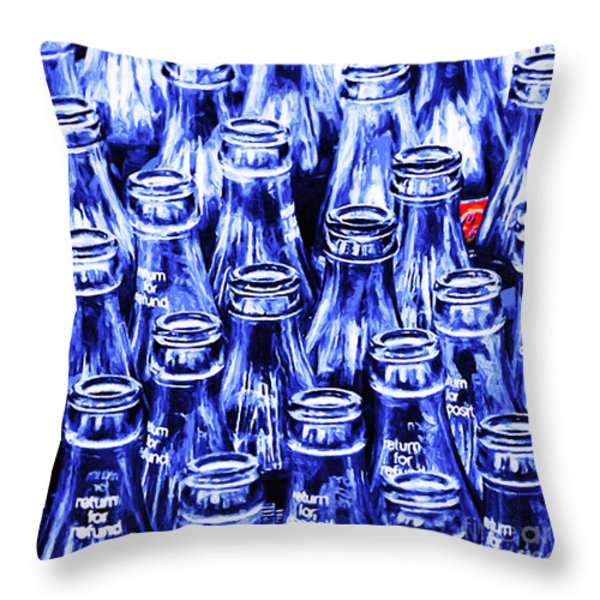 Coca-Cola Coke Bottles - Return For Refund - Square - Painterly - Blue Throw Pillow by Wingsdomain Art and Photography